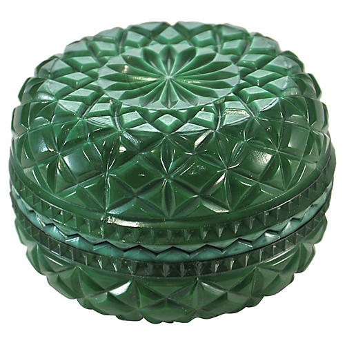 Malachite Glass Star Quilted Box