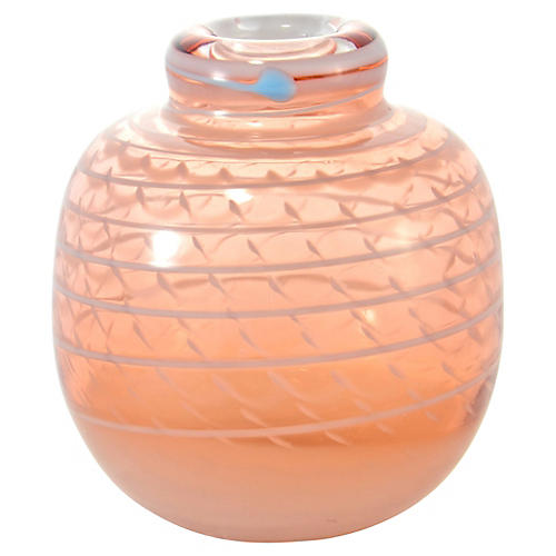 Pink & White Art Glass Vase