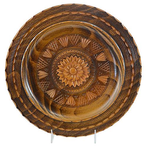 Carved Wood Floral Bowl