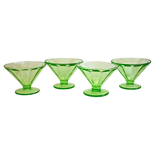 1930s Green Glass Pedestal Bowls, S/4