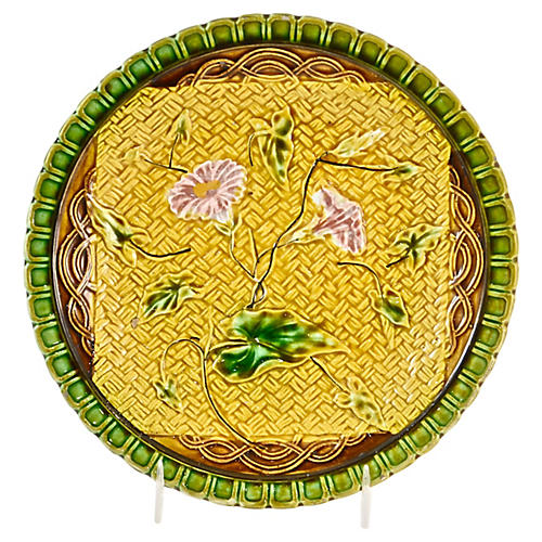 1880s Majolica Morning Glory Plate