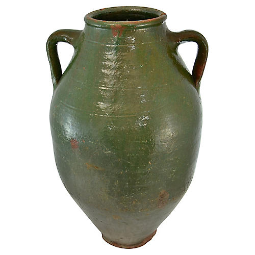 Oversize Green Turkish Olive Urn