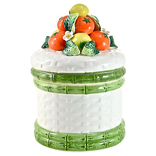 Fruit Topped Capodimonte Jar