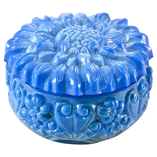 Blue Glass Sunflower Box