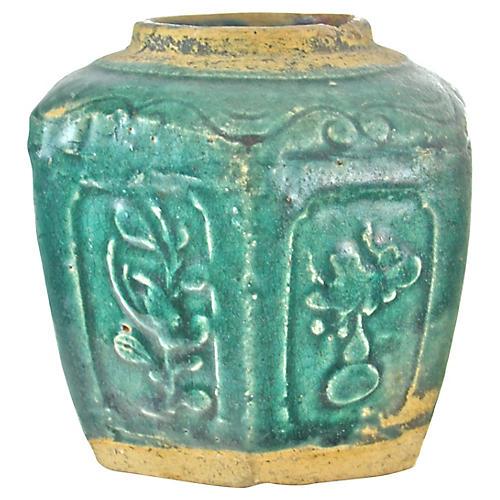 Antique Aqua Ginger Jar