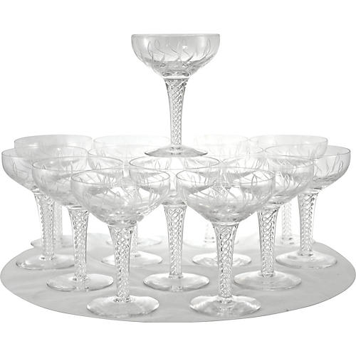 English Air Twist Crystal Coupes, S/14