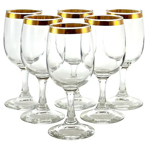Gold Rim Wineglasses, S/6