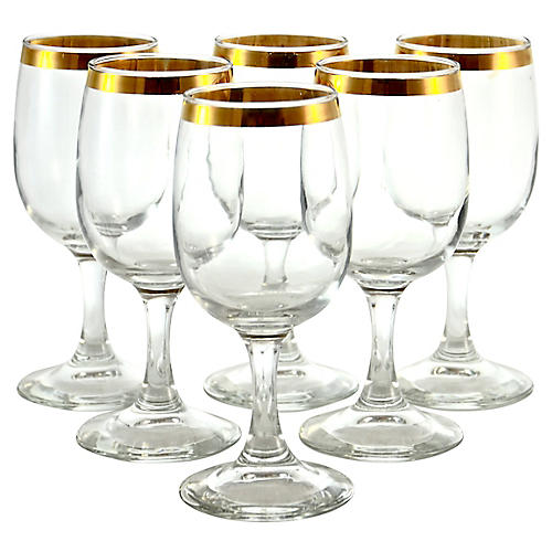 Gold Rim Wineglasses, S/6