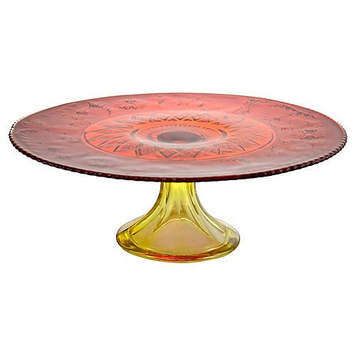 Amberina Pedestal Cake Stand