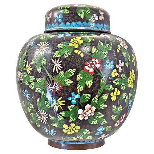 Antique Floral Cloisonné Longevity Jar