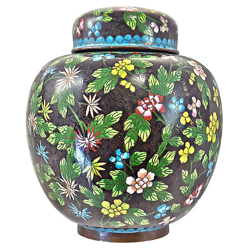 Antique Floral Cloisonné Longevity Jar