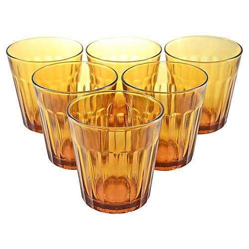 Amber Glass Tumblers, S/6