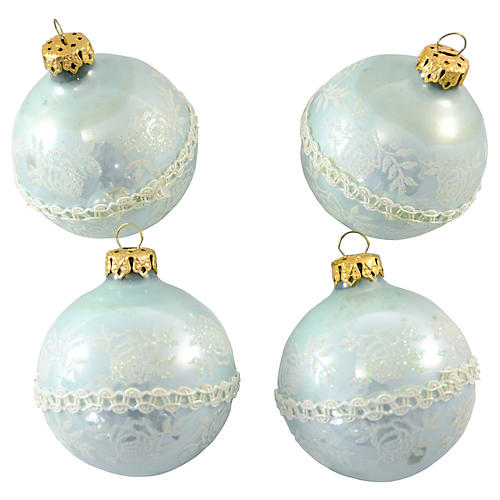 Pastel Ice Blue Glitter Ornaments, S/4