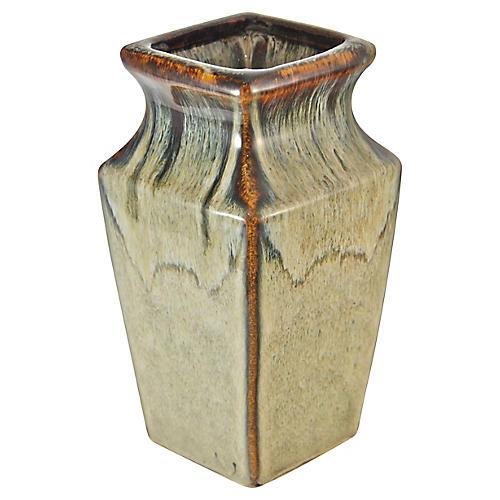 Square Drip Glaze Studio Pottery Vase