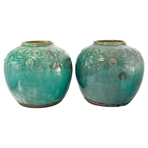 Teal Blue Chinese Ginger Jars, Pair