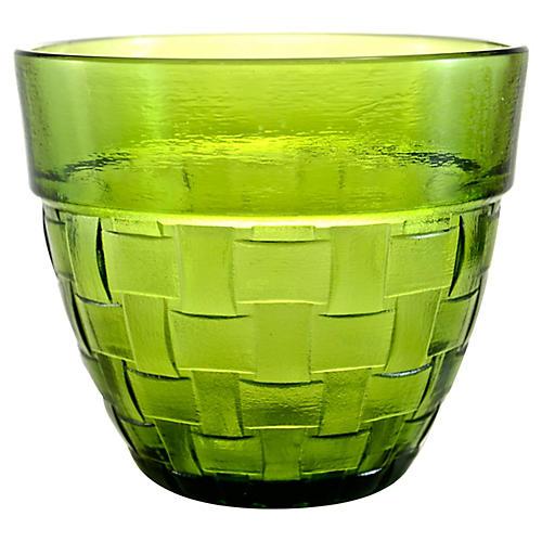 Green Basket Weave Glass Bowl