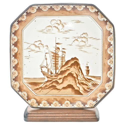 Sepia Sail Ships Tray w/ Stand (Lt)