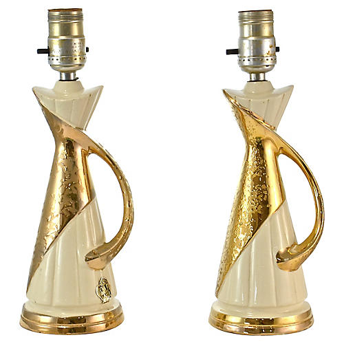 Midcentury Gold Encrusted Lamps, S/2