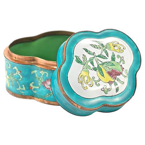 Aqua Floral Chinese Enamel Box