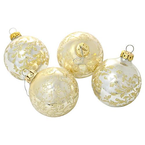 Silver & Gold Glass Ornaments, S/4