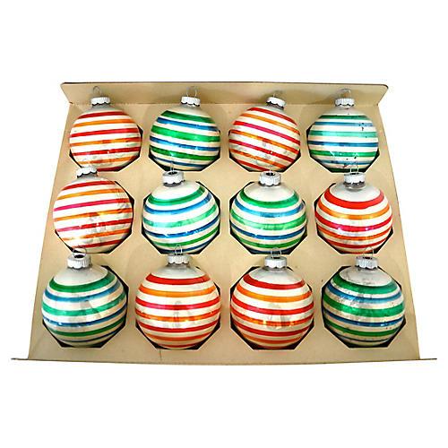 Shiny Brite Boxed Stripe Ornaments, S/12