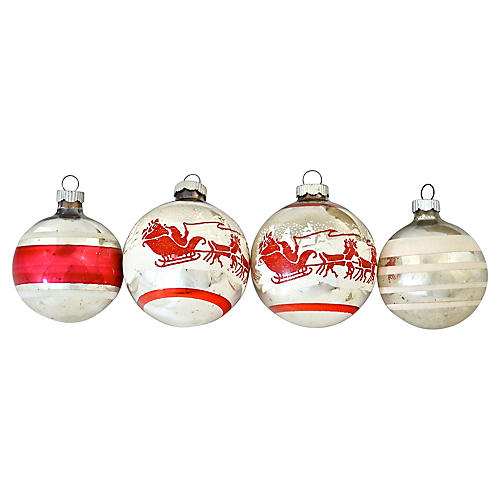 Shiny Brite Red Sleigh Ornaments, S/4