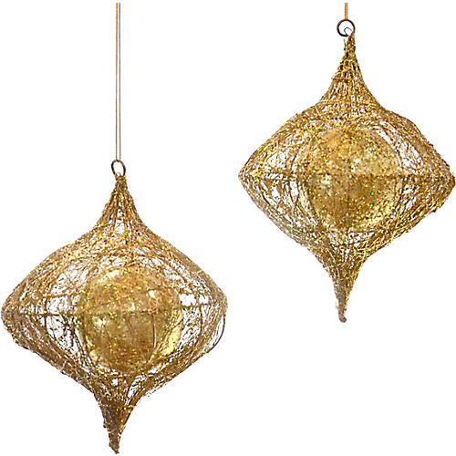 Gold Glitter Caged Tear Drops, Pair
