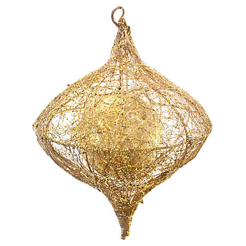 Gold Caged Teardrop Ornament