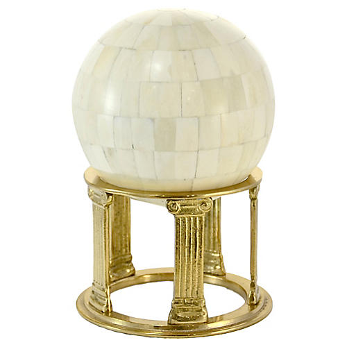 Ivory Tessellated Sphere w/ Brass Stand