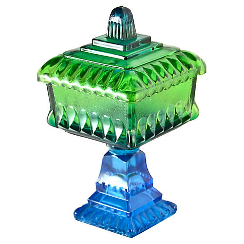 Blue & Green Glass Pedestal Box