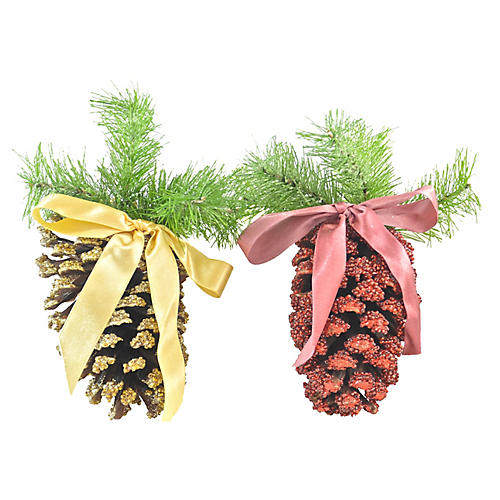 Red & Gold Pine Cone Ornaments, Pair