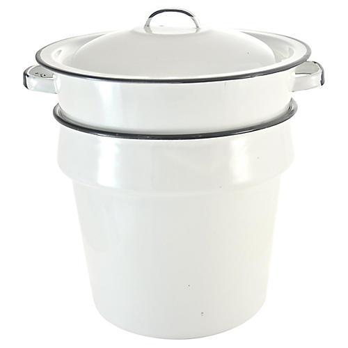 White Enamelware Nesting Pots, 3 Pcs