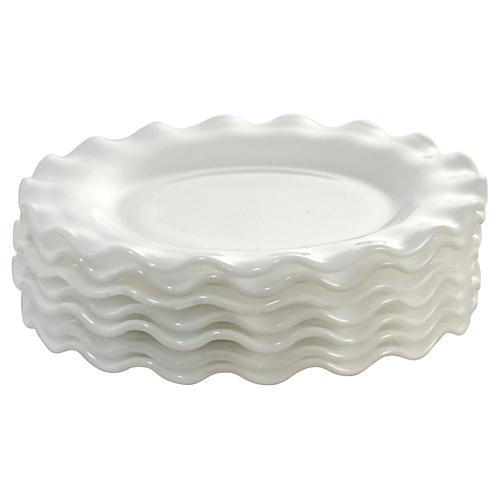 White Ruffle Rim Dessert Plates, S/7