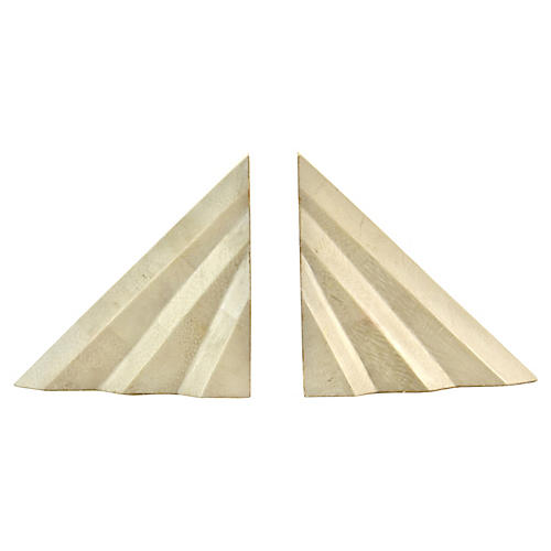 Deco-Style Tessellated Bone Bookends