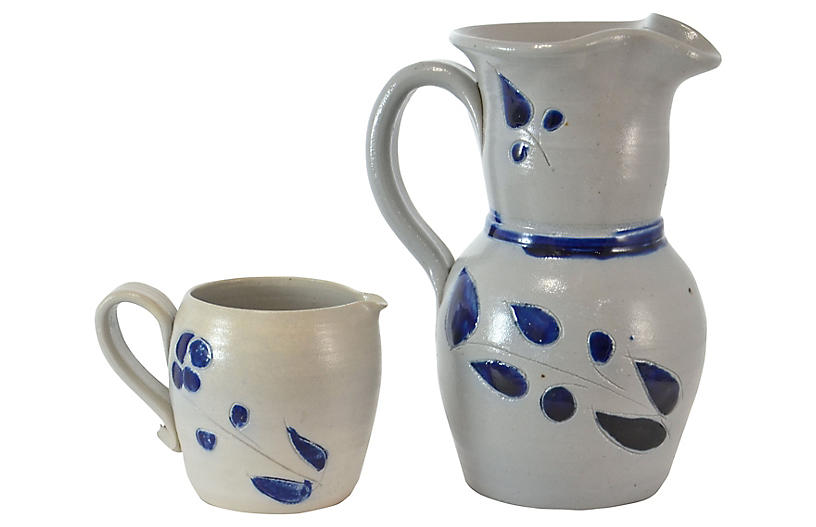 Blue Studio Pottery Pitchers, Pair