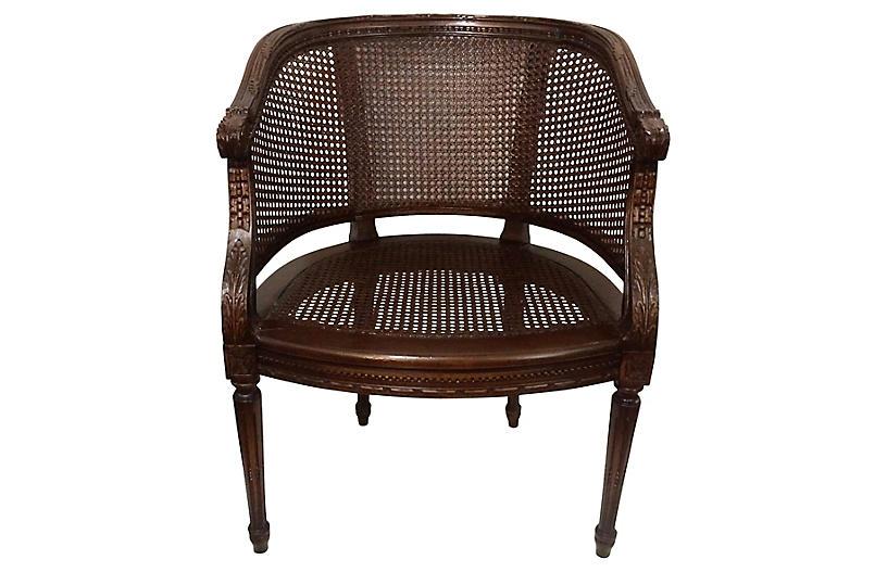 Louis XVI-Style Walnut & Cane Chair