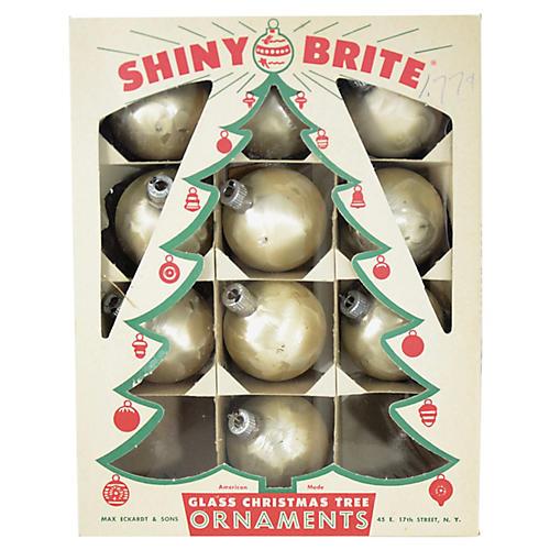 Satin Frost Shiny Brite Ornaments, S/10