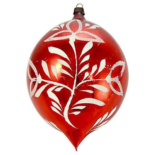 "Red Blown Glass 6"" Teardrop Ornament"