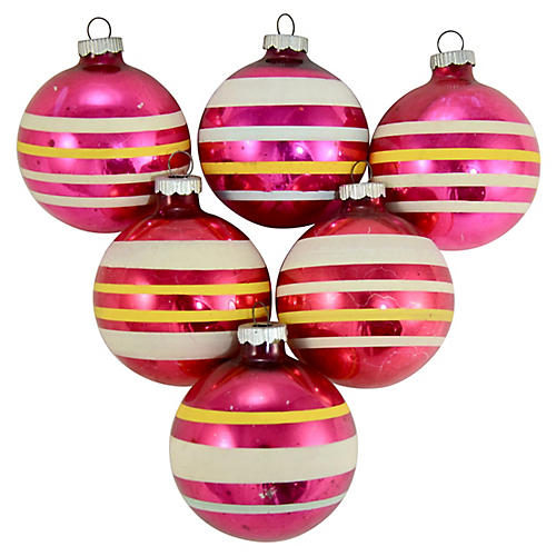 Shiny Brite Banded Ball Ornaments, S/6