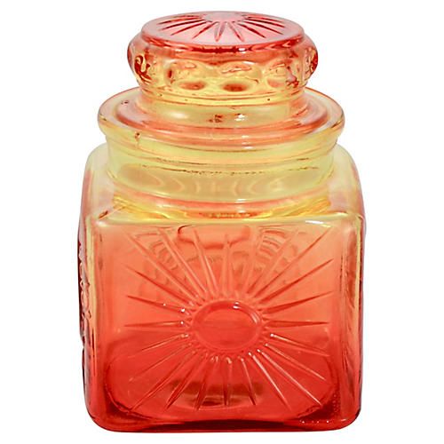 Amber & Red Ombré Glass Lidded Jar