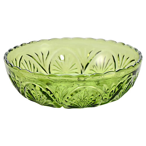 Forest Green Glass Medallion Bowl
