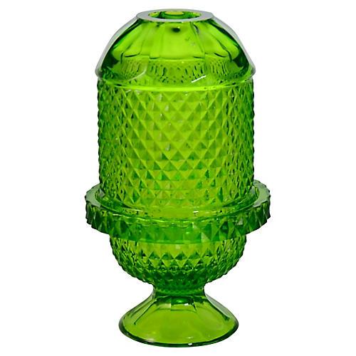 Green Diamond Glass Candle Holder