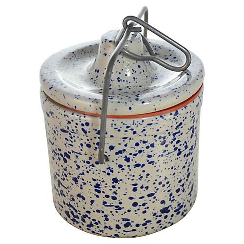 Blue Spatter Stoneware Crock