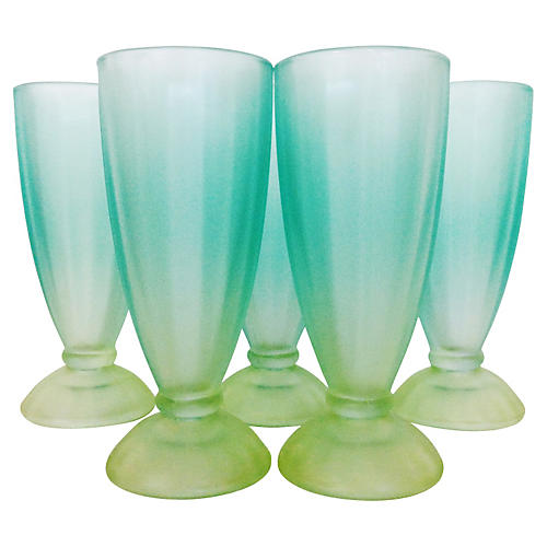 1950s Frosted Glass Tumblers, S/5