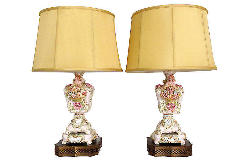 Capodimonte Table Lamps, Pair