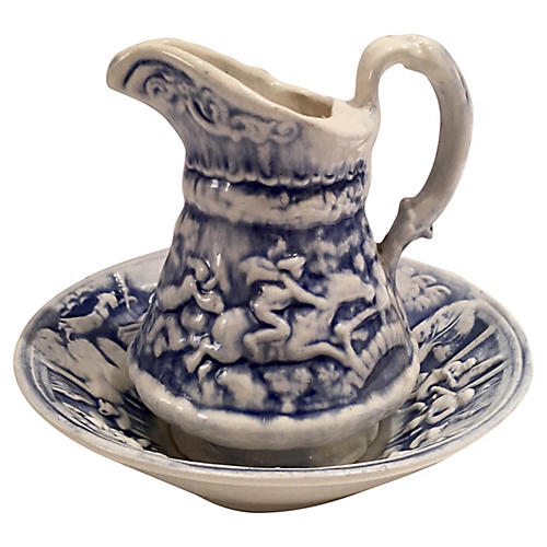 Ceramic Blue & White Pitcher And Basin