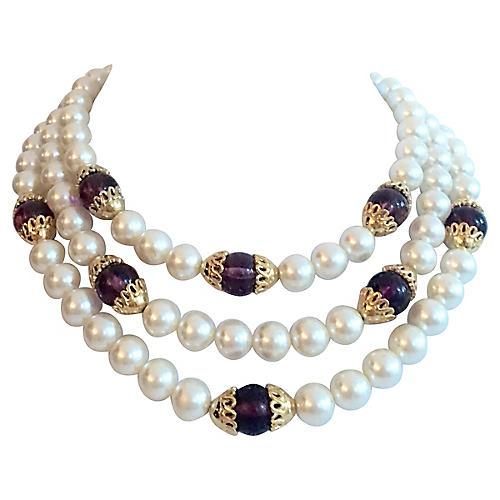 Napier Triple-Strand Faux-Pearl Necklace