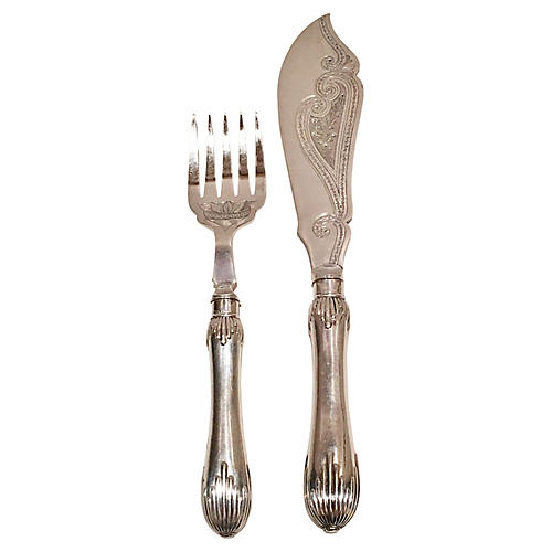 Silver-Plate Fish Serving Set