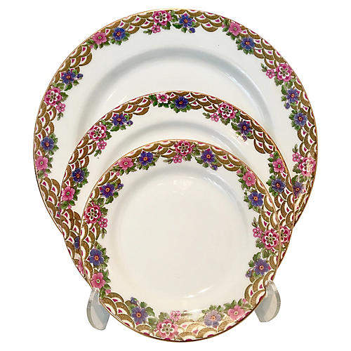 French Limoges Dinnerware Set, Svc for 4