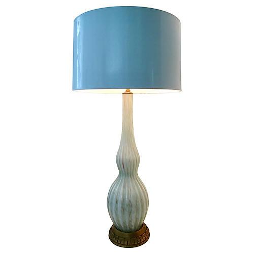1950s Murano Glass & Giltwood Lamp
